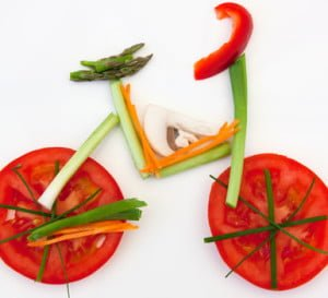 Symbolical bicycle made of vegetables as symbol and sign for vitality and healthy lifestyle